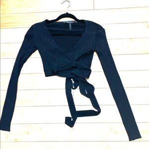 BCBG crop wrap sweater